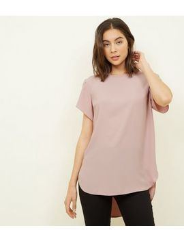 Pale Pink Petal Sleeve Dip Hem Top by New Look