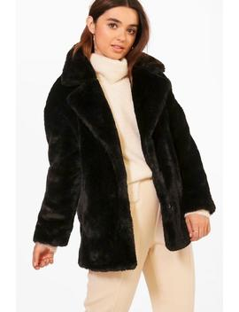 Petite Oversized Collar Luxe Faux Fur Coat by Boohoo