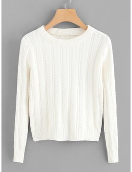 Solid Cable Knit Jumper by Romwe