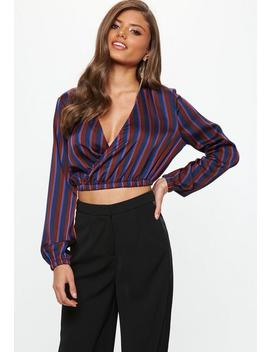 Navy Multi Coloured Stripe Wrap Crop Top by Missguided
