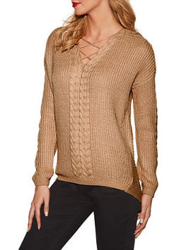 Cable Detail Tunic Sweater by Boston Proper