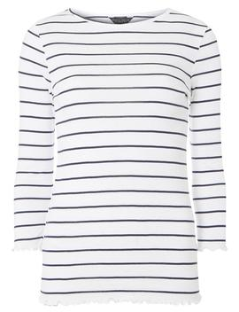 Ivory And Navy Striped Lettuce T Shirt by Dorothy Perkins