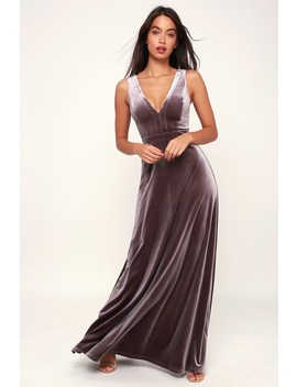 Beautiful Night Dusty Purple Velvet Sleeveless Maxi Dress by Lulus