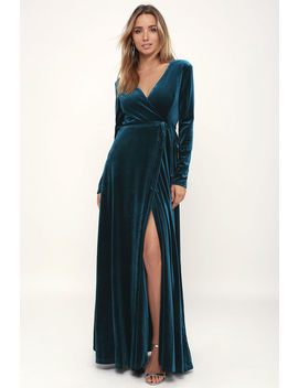 Jacinda Teal Blue Velvet Wrap Maxi Dress by Lulus