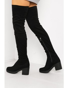 Black Faux Suede Thigh High Chunky Boots by Lasula
