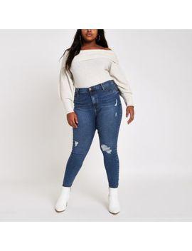 Ri Plus   Harper   Blauwe Ripped Superskinny Jeans by River Island