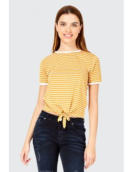 Stripe Tie Front T Shirt by Select