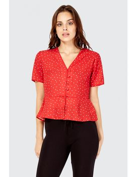 Spot Print Button Front Blouse by Select