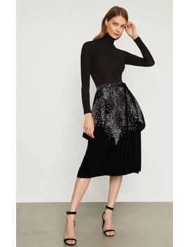 Embroidered Velvet Wrap Skirt by Bcbgmaxazria