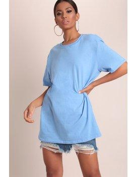 Denim Blue Basic Oversized T Shirt by I Saw It First