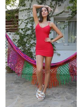 Red Plunge Front Mini Dress by I Saw It First
