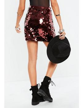 Burgundy Large Disc Sequin Mini Skirt by Missguided