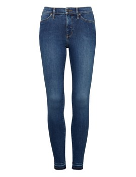 High Rise Legging Fit Luxe Sculpt Medium Wash Ankle Jean With Fray Hem by Banana Repbulic