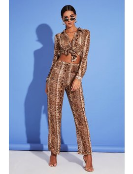 Brown Snake Print Wide Leg Chiffon Trousers by I Saw It First