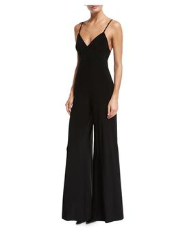 Wide Leg Slip Jumpsuit, Black by Neiman Marcus