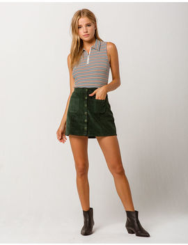 Sky And Sparrow Button Up Corduroy Mini Skirt by Sky And Sparrow