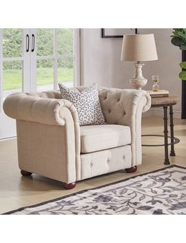 Knightsbridge Beige Linen Tufted Scroll Arm Chesterfield Chair By I Nspire Q Artisan by I Nspire Q