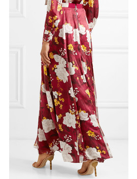 Athena Floral Print Hammered Silk Satin Maxi Skirt by Alice + Olivia
