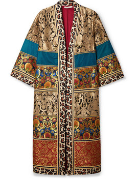 Lynn Leopard Print Cotton Trimmed Jacquard Kimono by Alice + Olivia