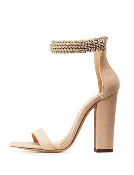 Rhinestone Ankle Wrap Sandals by Charlotte Russe