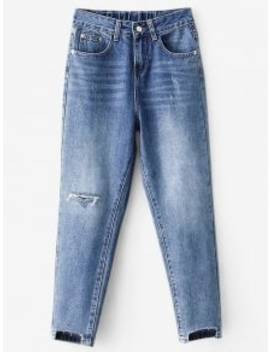 High Waisted Distressed Mom Jeans   Blue M by Zaful