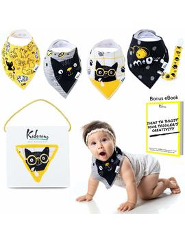Bandana Bibs For Boys And Girls | 100 Percents Cotton Absorbent Baby Bib Gift Set Of 4 + Pacifier Clip + E Book by Kidonino