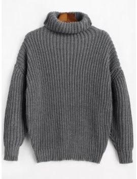 Turtleneck Longline Chunky Sweater   Gray by Zaful