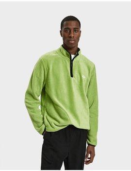 Polar Fleece Half Zip Pullover In Lime by Stüssy