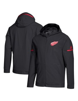Detroit Red Wings Adidas Squad Woven Full Zip Hoodie – Black by Adidas
