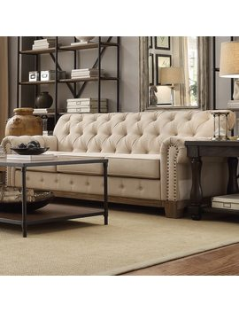 Greenwich Tufted Scroll Arm Nailhead Beige Chesterfield Sofa By I Nspire Q Artisan by I Nspire Q