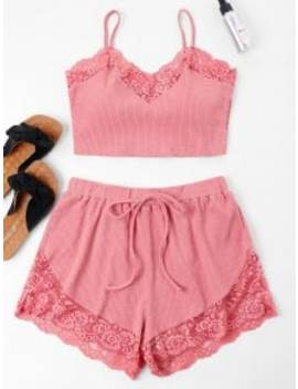 Lace Trim Cami Top And Shorts Set   Flamingo Pink L by Zaful