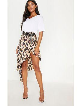 Leopard Print Satin Asymmetric Skirt by Prettylittlething