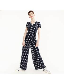 Short Sleeve Wrap Jumpsuit In Polka Dot by J.Crew