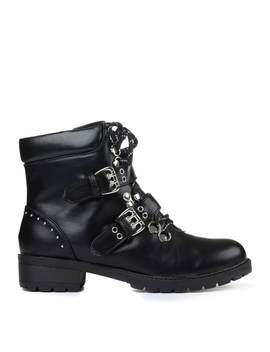 Sonic Double Buckle Ankle Boots by Koi Footwear