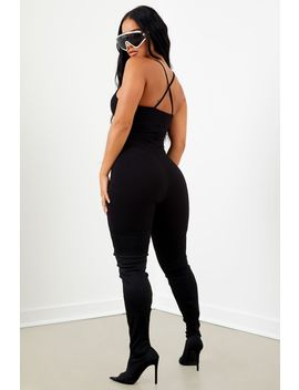 Sorella Ribbed Cross Back Unitard   Black by Sorella