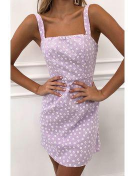Miss Daisy Mini Dress Lilac Print by White Fox