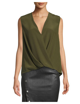 Victor Sleeveless Draped Silk Charmeuse Blouse by Rag & Bone