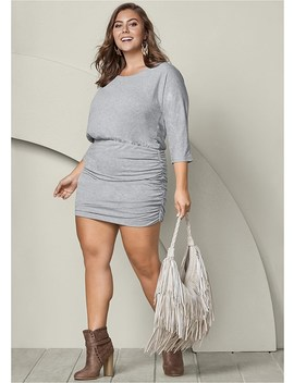 Plus Size Ruched Detail Dress by Venus