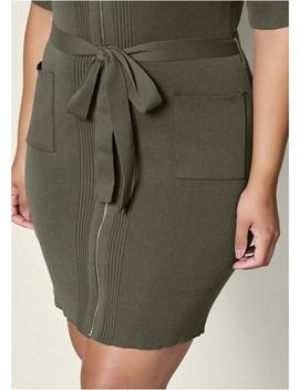 Plus Size Zipper Detail Sweater Dress by Venus