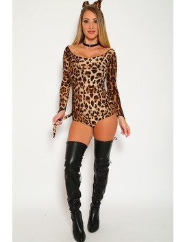Sexy Leopard Two Piece Costume Bodysuit Long Sleeve Ears Headband Attached Tail by Ami Clubwear