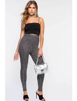 Metallic Houndstooth Leggings by A'gaci