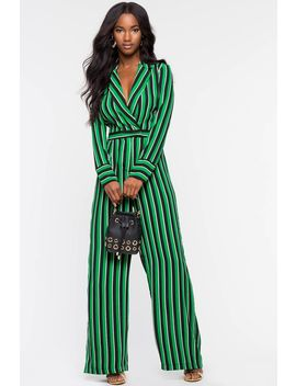Underrated Stripe Jumpsuit by A'gaci