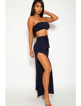 Sexy Navy Two Piece Outfit High Waist Pants Side Slits Elastic Waist Strapless Crop Top Fitted by Ami Clubwear