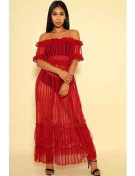 Sexy Wine Pleated Off The Shoulders Maxi Party Dress by Ami Clubwear