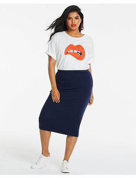 White Sequin Lips T Shirt by Simply Be