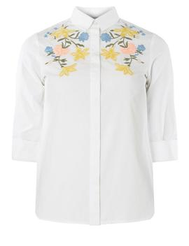 Petite White Embroidered Shirt by Dorothy Perkins