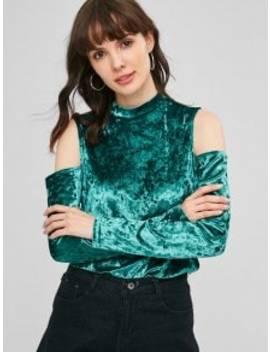 Cold Shoulder Crushed Velvet Top   Light Sea Green L by Zaful