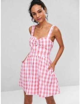 Ruched Front Gingham Skater Dress   Pink L by Zaful