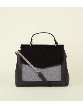 Grey Felt Pocket Top Handle Bag by New Look