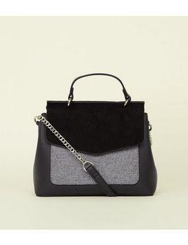 Grey Felt Pocket Top Handle Bag by New Look